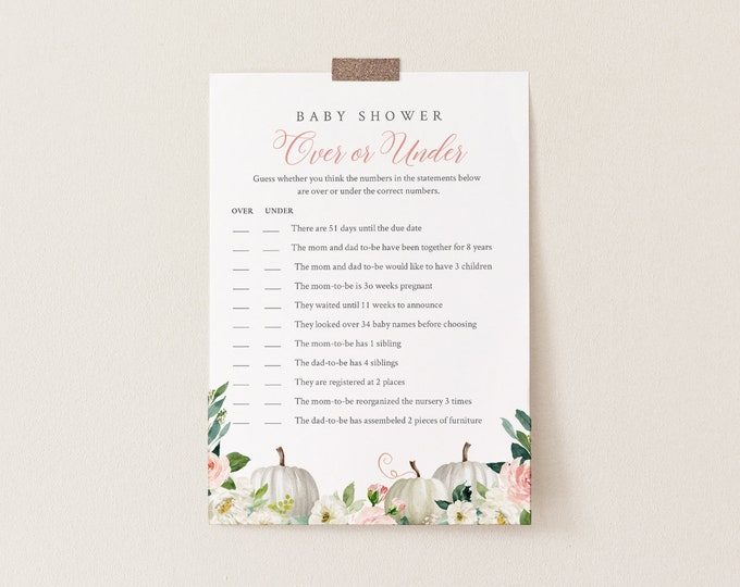 Over or Under Baby Shower Game, 100% Editable Text, Printable Fall Pumpkin Baby Shower, Instant Download, Templett  #072B-232BASG