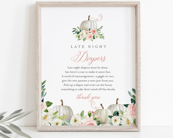 Late Night Diapers Sign, Printable Fall Pumpkin Baby Shower Game, Diaper Notes, Editable Template, INSTANT DOWNLOAD, Templett #072B-239BASG