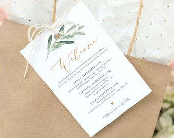 Greenery Welcome Letter Tag, Olive Welcome Bag Note & Itinerary Template, Printable Order of Events, INSTANT DOWNLOAD, Templett #081-107WBT