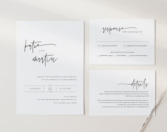 Modern Wedding Invitation Set, Simple, Minimalist, Basic Wedding Invite, RSVP, Detail, Editable Template, Instant Download, Templett #0009B
