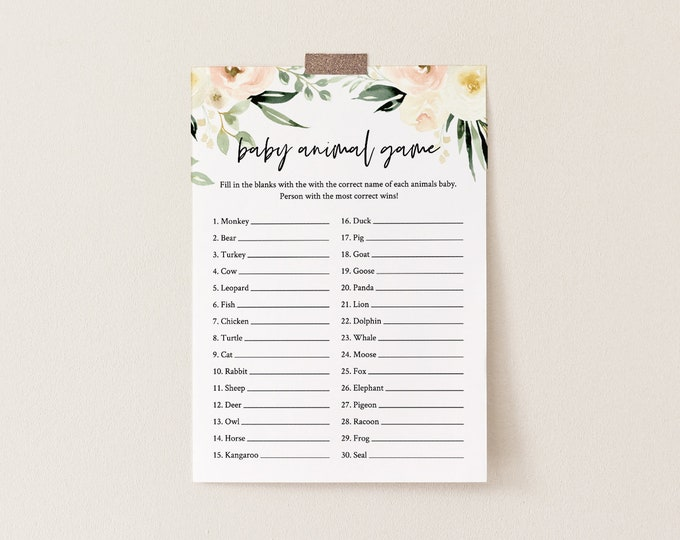 Baby Animal Game, Printable Baby Shower Game, Editable Template, Peach Floral & Greenery, Instant Download, Templett  #076-144BG