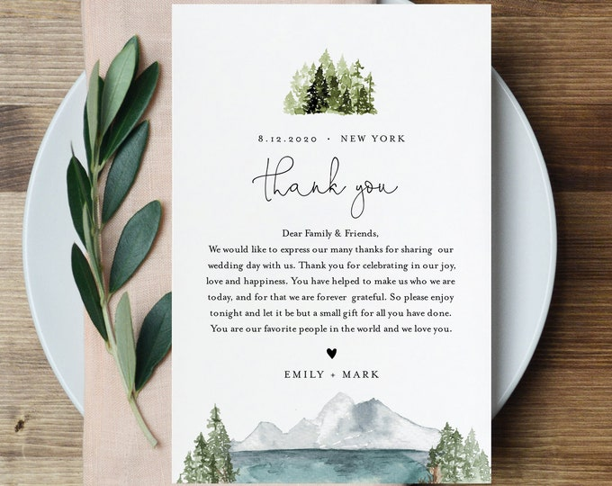 Lake Thank You Letter, Napkin Note, Printable Pine Wedding Menu Thank You, Editable Template, Instant Download, Templett, 4x6 #017A-136TYN