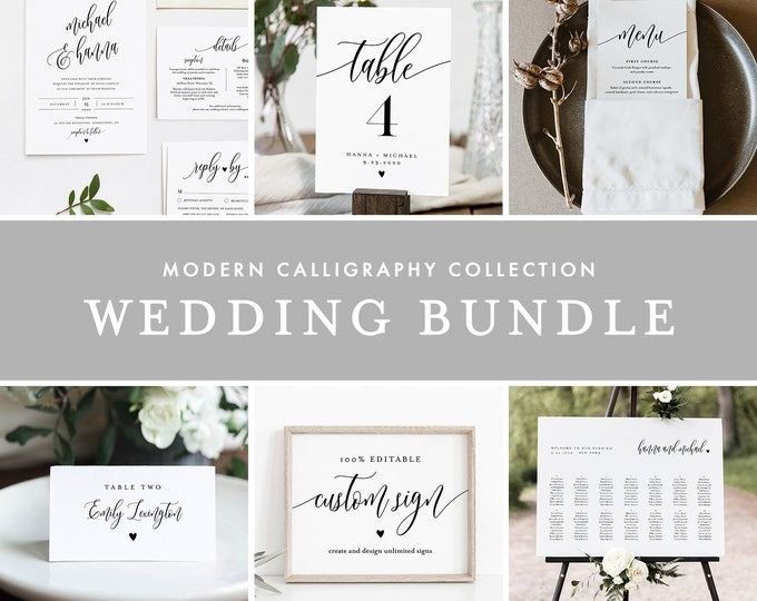 Modern Calligraphy Wedding Bundle, Wedding Invitation Suite + Essentials, 100% Editable Template, Instant Download, Templett #008-BUNDLE