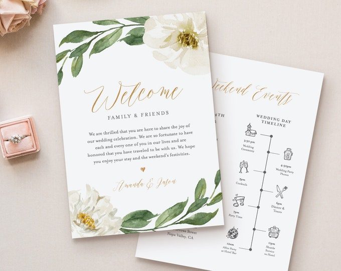 Timeline & Wedding Welcome Letter Template, Boho Greenery Wedding Bag Note, Order of Events, INSTANT DOWNLOAD, 100% Editable Text #067-118WB