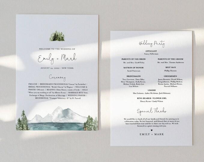 Lake Wedding Program, Fan or Flat Program, Mountain & Pine Order of Service, Editable Template, Instant Download, Templett #017A-424WP