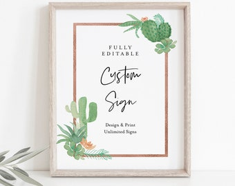 Cactus Custom Sign Template, Succulent Greenery Wedding or Bridal Shower Table Sign, Create Any Sign, INSTANT DOWNLOAD, Templett #086-146CS
