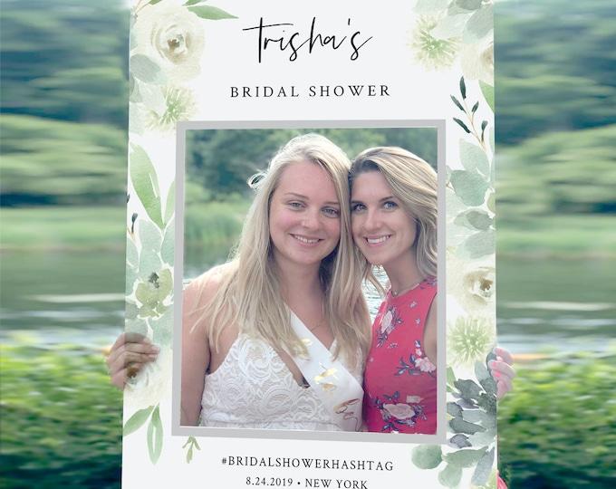 Bridal Shower Photo Prop Frame, Wedding Social Media Frame, Editable Template, Succulent Greenery, INSTANT DOWNLOAD, Templett #075-104PP