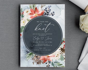 Winter Elopement Invitation Template, Printable We Tied the Knot Invite, Reception Party, 100% Editable Text, INSTANT DOWNLOAD #071-118EL