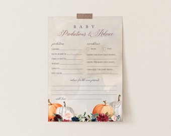 Baby Predictions and Advice Card, Fall Pumpkin Baby Shower Printable, Editable Text, Baby Advice, INSTANT DOWNLOAD, Templett #072A-202BASG