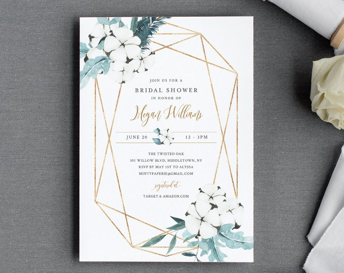 Winter Bridal Shower Invitation Template, Editable Couples Shower Invite, Cotton Plant, Holiday, INSTANT DOWNLOAD, Printable, DIY #091-254BS