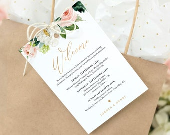 Welcome Bag Tag, Boho Blush Floral Welcome Letter and Itinerary Template, Printable Order of Events, INSTANT DOWNLOAD, Templett #043-105WBT