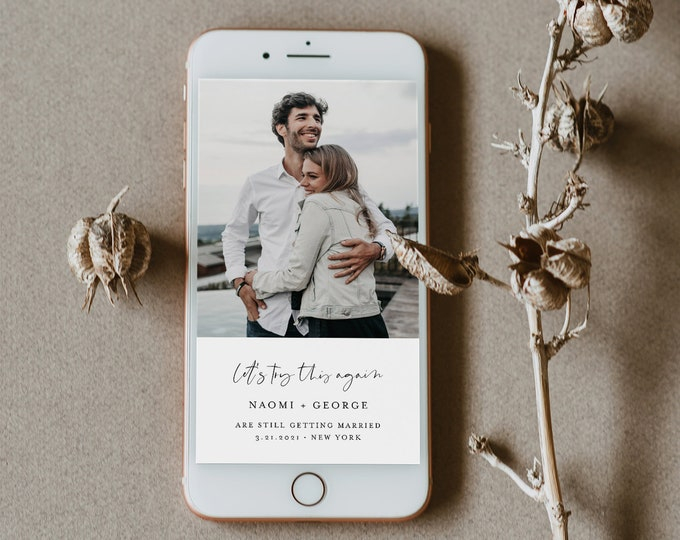 Postponed Wedding Date, Let's Try This Again, Change of Plans, Digital Announcement, 100% Editable, INSTANT DOWNLOAD, Templett #096-111PA
