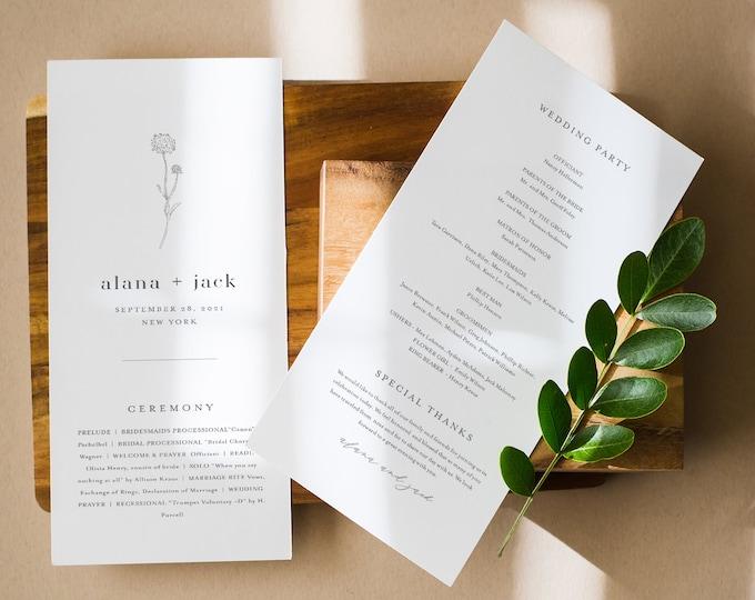 Dandelion Wedding Program Template, Instant Download, Minimalist Simple Wedding Order of Service, 100% Editable, Templett #0006A-250WP