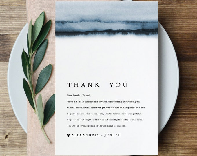 Minimalist Thank You Letter, Napkin Note, Printable Wedding Menu Thank You, Editable Template, Instant Download, Templett, 4x6 #093A-134TYN