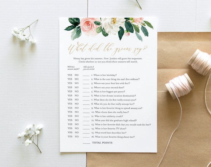 What Did the Groom Say Bridal Shower Game, INSTANT DOWNLOAD, Printable Wedding Game, Editable Template, Personalize Questions #043-111BG