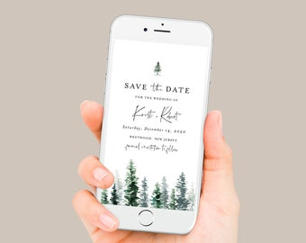 Pine Tree Save the Date, Rustic Wedding Electronic Invitation, Evite, Digital, Text Invite, Editable, Templett, Instant Download #073-107SDD