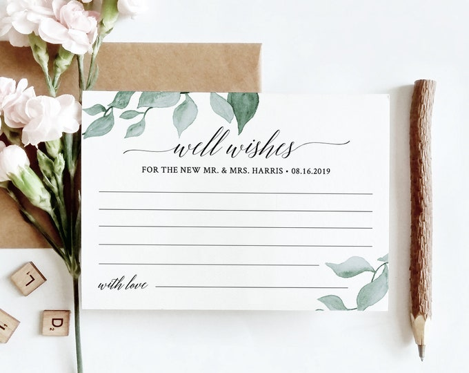 Wedding Well Wishes for Bride and Groom, Advice Card Template, Bridal Shower, Instant Download, 100% Editable, Greenery, DIY #019-119EC