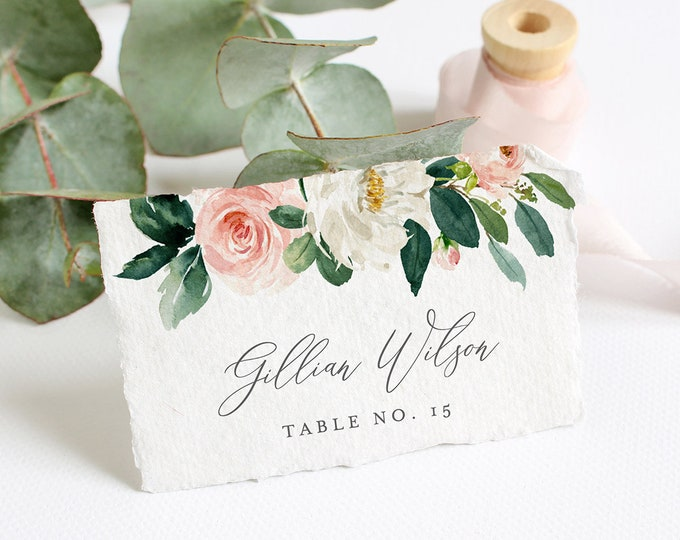 Editable Place Card Template, INSTANT DOWNLOAD, Printable Wedding Escort Card, Name Card, Boho Blush Floral Greenery Seating Card #043-113PC