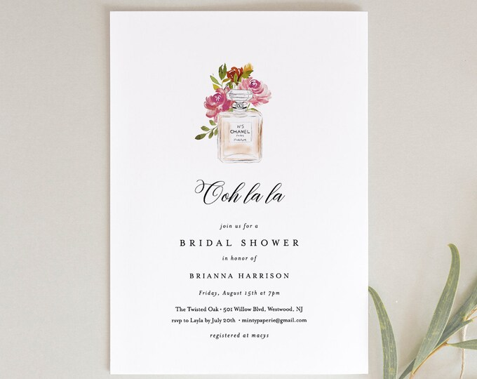 Paris Bridal Shower Invitation Template, Printable French Wedding Shower Invite, Chanel Parfum, INSTANT DOWNLOAD, Editable Text #001-172BS