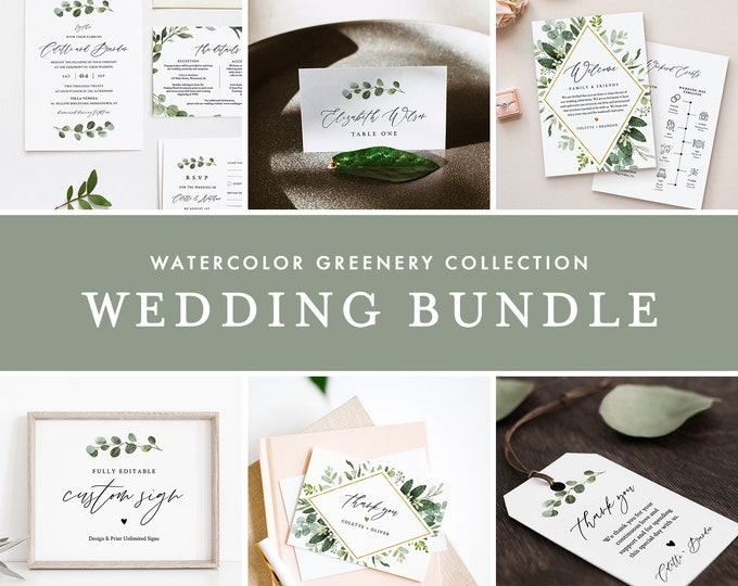 Greenery Wedding Bundle, Large Wedding Essential Templates, 100% Editable Text, Watercolor Greenery, Instant Download, Templett 082-BUNDLE