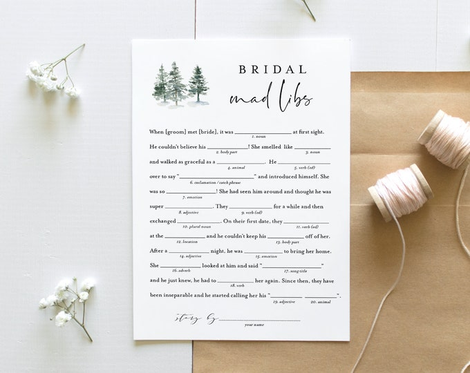 Mad Libs Bridal Shower Game Template, Printable Winter Pine Bridal Shower Funny Game, Editable Text, Instant Download, Templett #073-249BG
