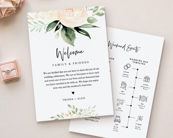 Wedding Welcome Letter & Timeline Template, Order of Events, Welcome Bag Note and Itinerary, INSTANT DOWNLOAD, 100% Editable Text #076-123WB