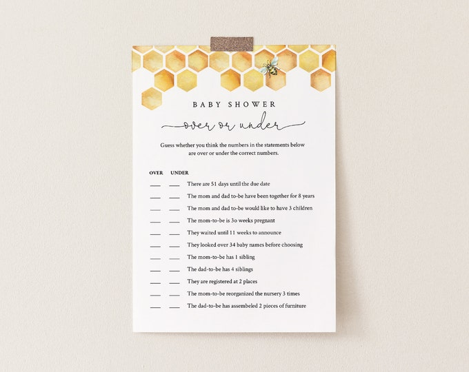 Over or Under Baby Shower Game, 100% Editable Text, Printable Baby Shower, Honey Bee Comb, Instant Download, Templett  #097-168BASG