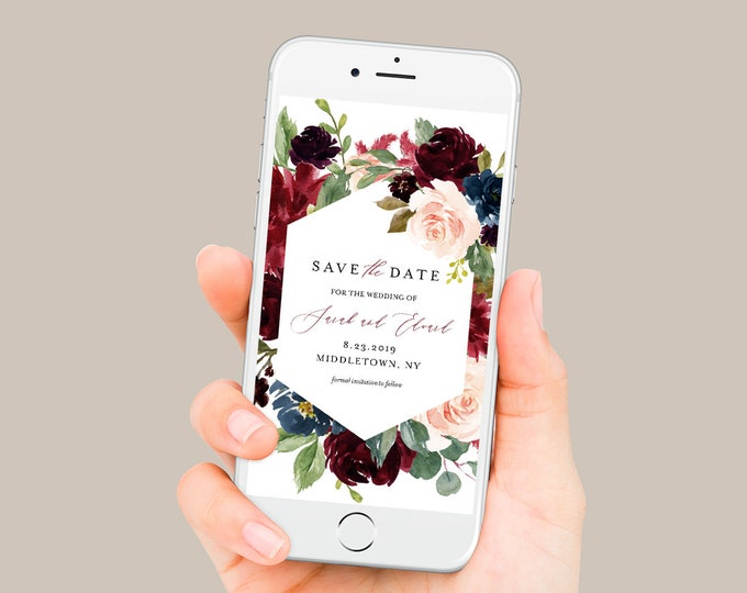 Save the Date, Burgundy Floral Electronic Invitation, Evite, Digital, Text Invite, Editable Text, Templett, Instant Download #062-104SDD