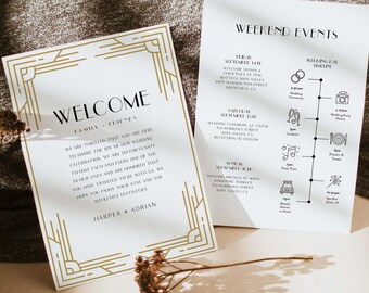 Welcome Letter & Timeline Template, Art Deco, Minimal Retro Wedding Order of Events, Itinerary, INSTANT DOWNLOAD, Editable Text #0021-171WB