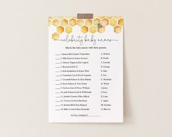 Celebrity Baby Name Game, Printable Baby Shower Game, Honey Bee Baby Name Game, Editable Template, Instant Download, Templett #097-166BASG