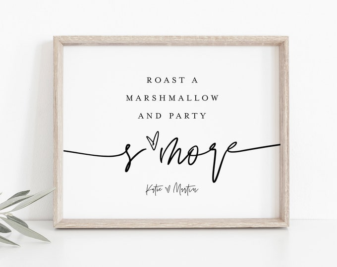 S'more Wedding Sign, Minimalist Bridal / Baby Shower S'mores Station, Roast Marshmallow, 100% Editable Template, Instant Download  #0009-32S
