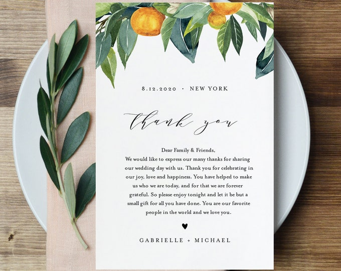 Citrus Wedding Thank You Letter, Napkin Note, In Lieu of Favors Card Template, Wedding Menu Thank You, INSTANT DOWNLOAD, 4x6 #084-125TYN