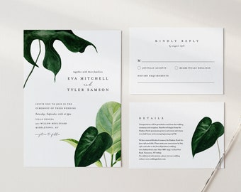 Topical Wedding Invitation Set, Monstera, Palm, Minimalist, Editable Template, Beach Destination, Invite, RSVP, Details, Templett #0012A