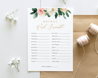 Bridal Word Scramble, Bridal Shower Game, Printable Bridal Puzzle, Instant Download, Editable Template, Boho Florals, Templett #043-160BG
