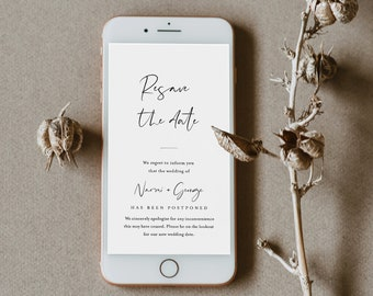 Resave the Date, Postponed Wedding Date Announcement, Change of Plans, Digital, Text Message, 100% Editable, INSTANT DOWNLOAD #096-102PA