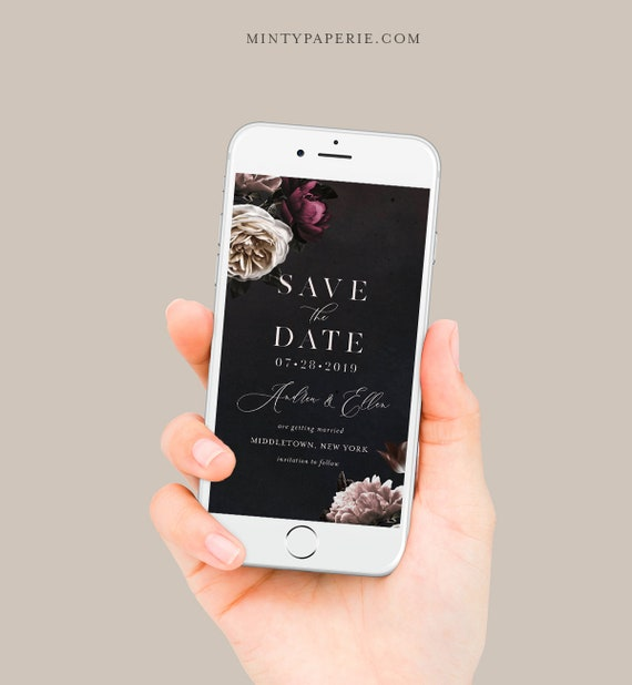 Save the Date, Moody Floral Wedding Electronic Invitation, Evite, Digital, Text Invite, Editable, Templett, Instant Download #009-109SDD