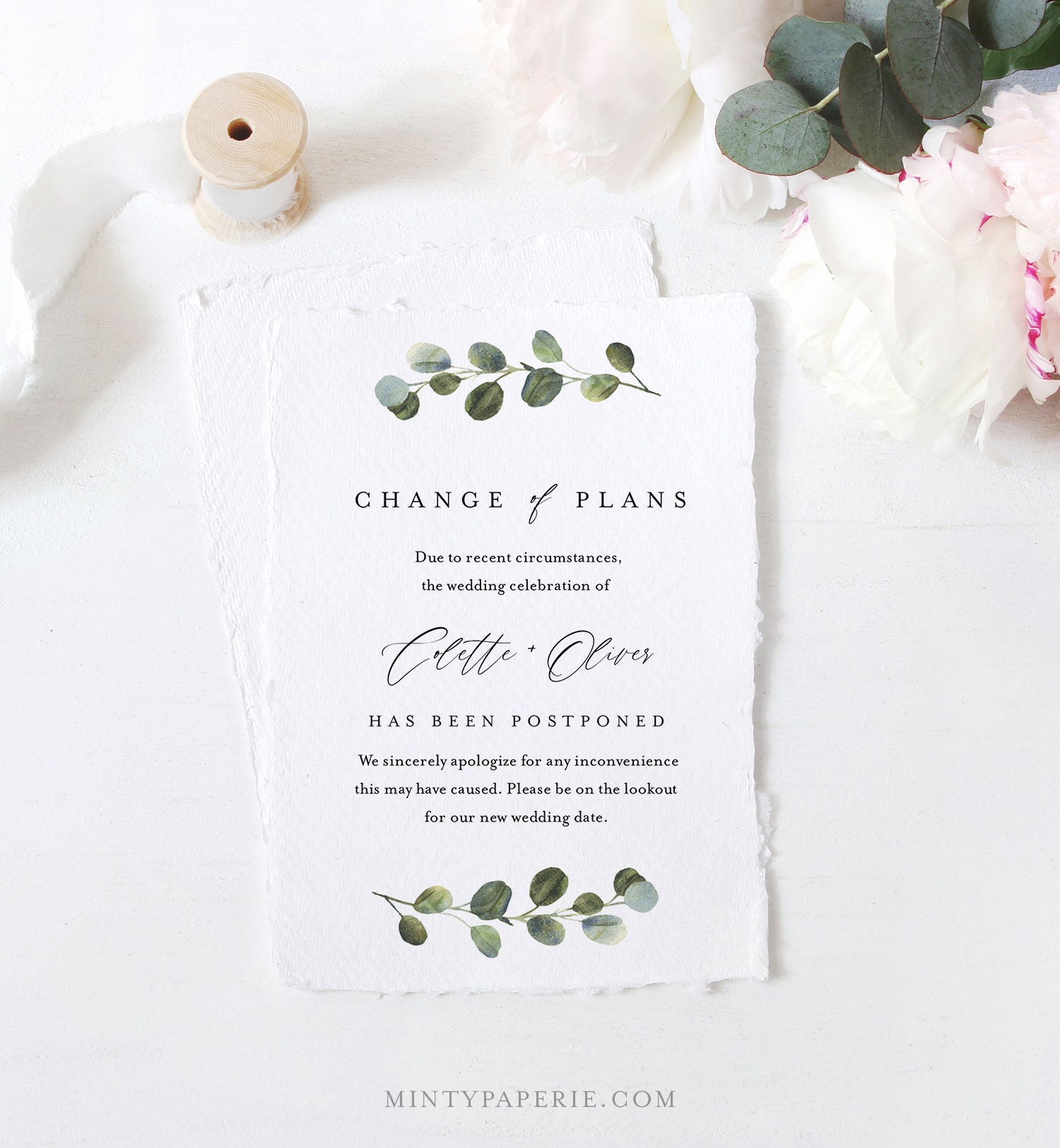 New Date Same Vows Printable Change The Date Template Change Of Plans Instant Download Templett Wedding Update Card Postponed Wedding