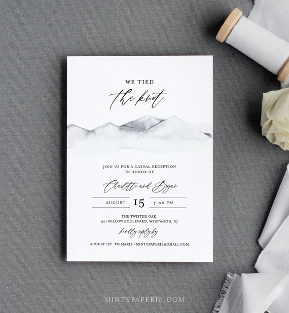 Rustic Elopement Invitation Template, Mountain Reception Party Invite, Casual Wedding Reception, Editable Text, Instant Download #004-119EL