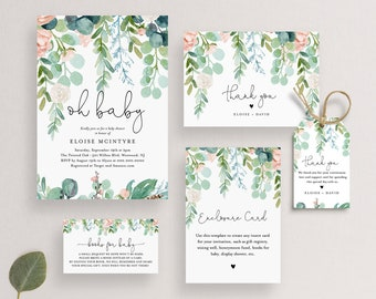Baby Shower Bundle, Lush Garden, Invite, Book Request, Favor Tag, Thank You Card, 100% Editable Text, Instant Download, Templett #068A-BNDL