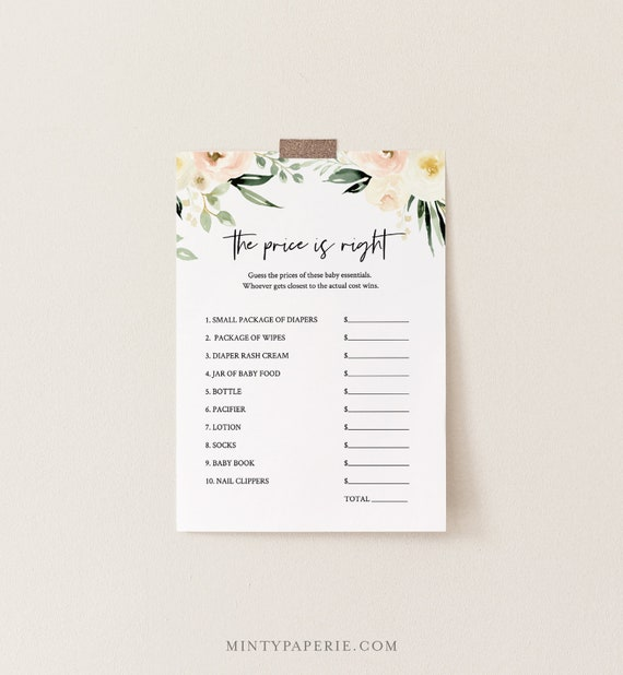 The Price Is Right Baby Shower Game Template, Peach Floral & Greenery Printable, 100% Editable Text, Instant Download, Templett  #076-138BG