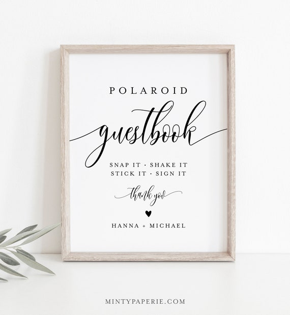 Polaroid Guestbook Sign, Printable Wedding Guest Book, Editable Template, Minimalist Sign, Instant Download, Templett, 8x10 #008-11S