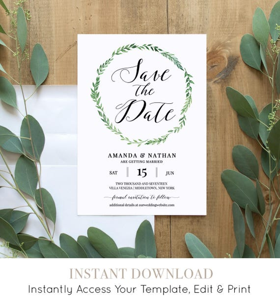 Wedding Save the Date Card Template, Printable, Fully Editable, Rustic Wedding, Green Wreath, Instant Download, Digital, DIY #026-114SD