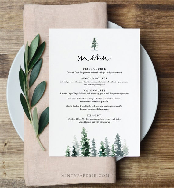 Menu Template, Rustic Pine Tree Wedding Menu Card, Printable Evergreen Dinner Menu, INSTANT DOWNLOAD, Editable Text, 5x7 & 3.65x9 #073-136WM