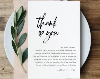 Minimalist Thank You Letter, Napkin Note, Printable Wedding Menu Thank You, Editable Template, INSTANT DOWNLOAD, Templett, 4x6 #090-129TYN