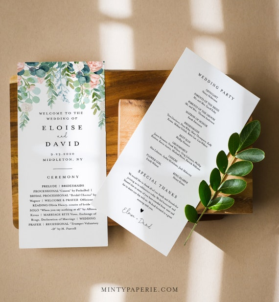 Lush Garden Wedding Program Template, Greenery Order of Service, Editable, Printable Flat Program, Instant Download, Templett #068A-243WP
