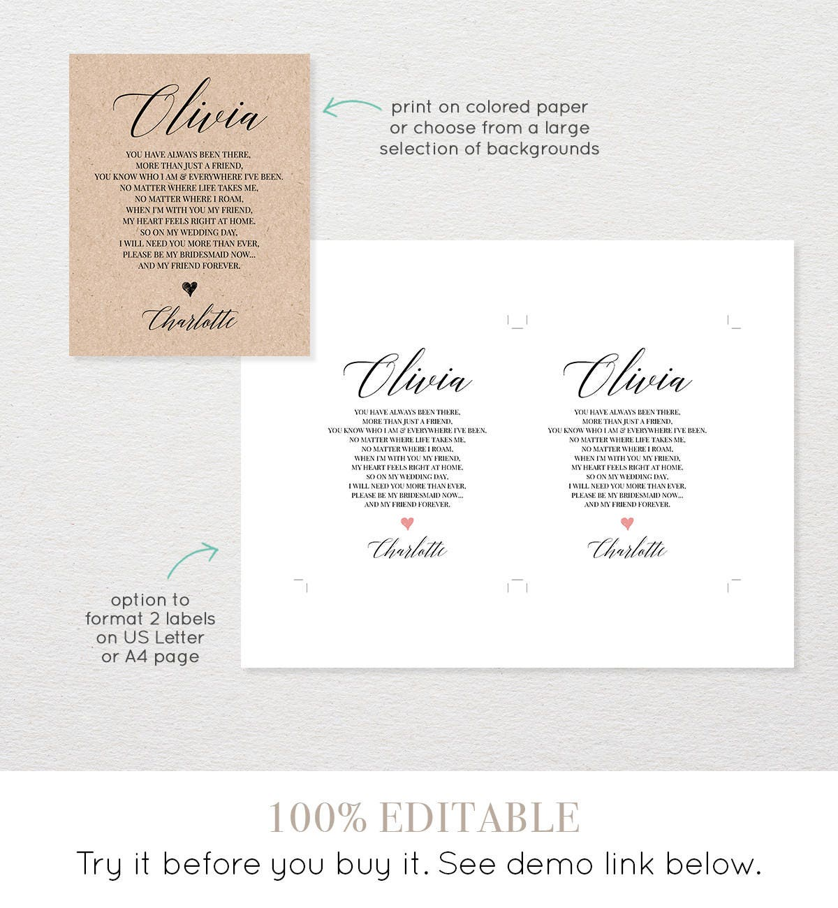 Bridesmaid wine label template thank you gift will you for Will you be my bridesmaid wine label template