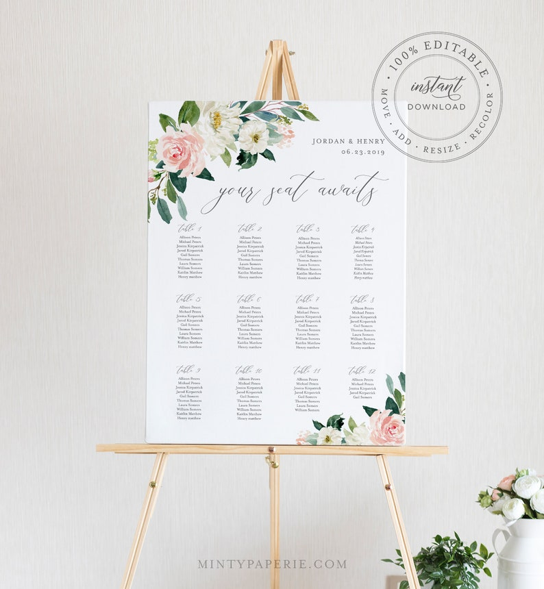 graphic relating to Printable Wedding Seating Chart named Floral Seating Chart Template, Printable Marriage Seating Indication, Immediate Obtain, 100% Editable, Boho Marriage ceremony, US United kingdom Poster Sizing #043-222SC
