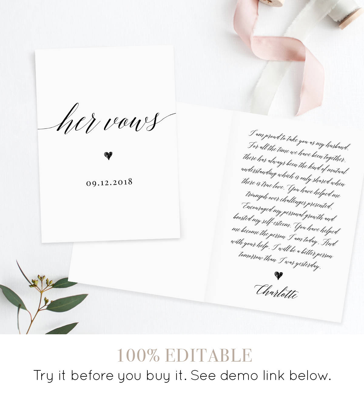 His and Her Wedding Vow Template, Personalized Vow Booklet, Custom