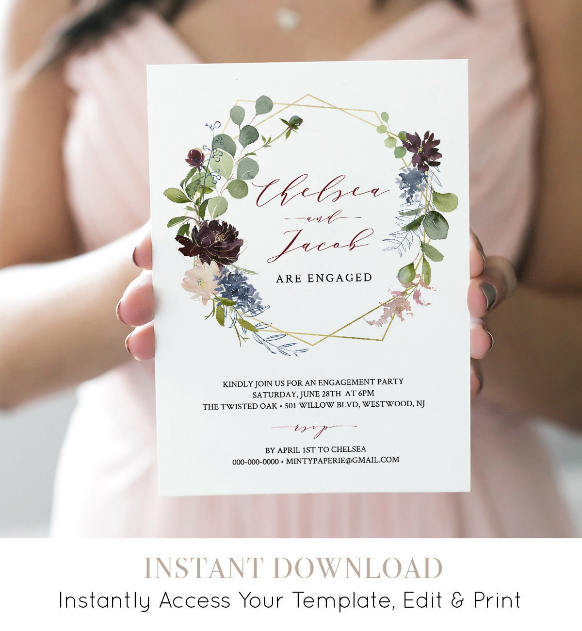 Engagement Party Invitation, INSTANT DOWNLOAD, 100% Editable ...