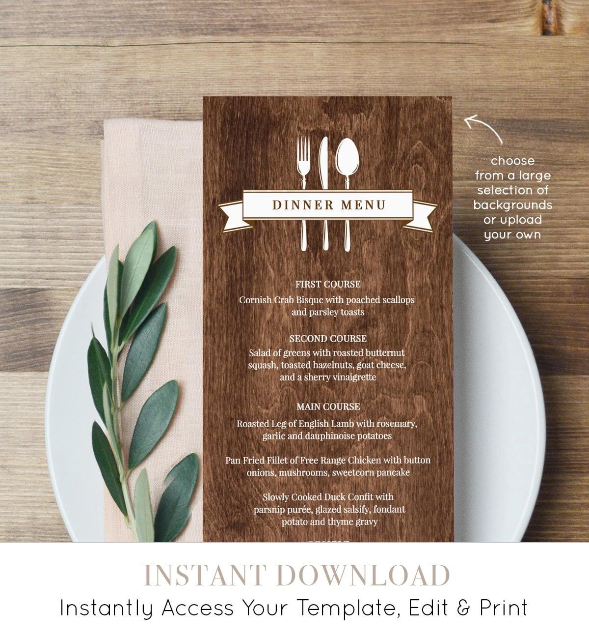 Simply Editable PDF Instant Download Melia: Printable 4x9.25 Dinner Menu Template in Black Calligraphy Wedding Menu Minimalist Menu
